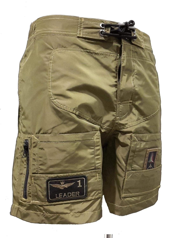 Slip Aeronautica Militare Costume Boxer Mare BW179 Verde Militare Uomo Shorts Polo Pantalone Bermuda