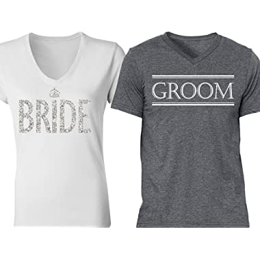 NoBull Woman Apparel Bride & Groom Couples Shirts White Silver Gray