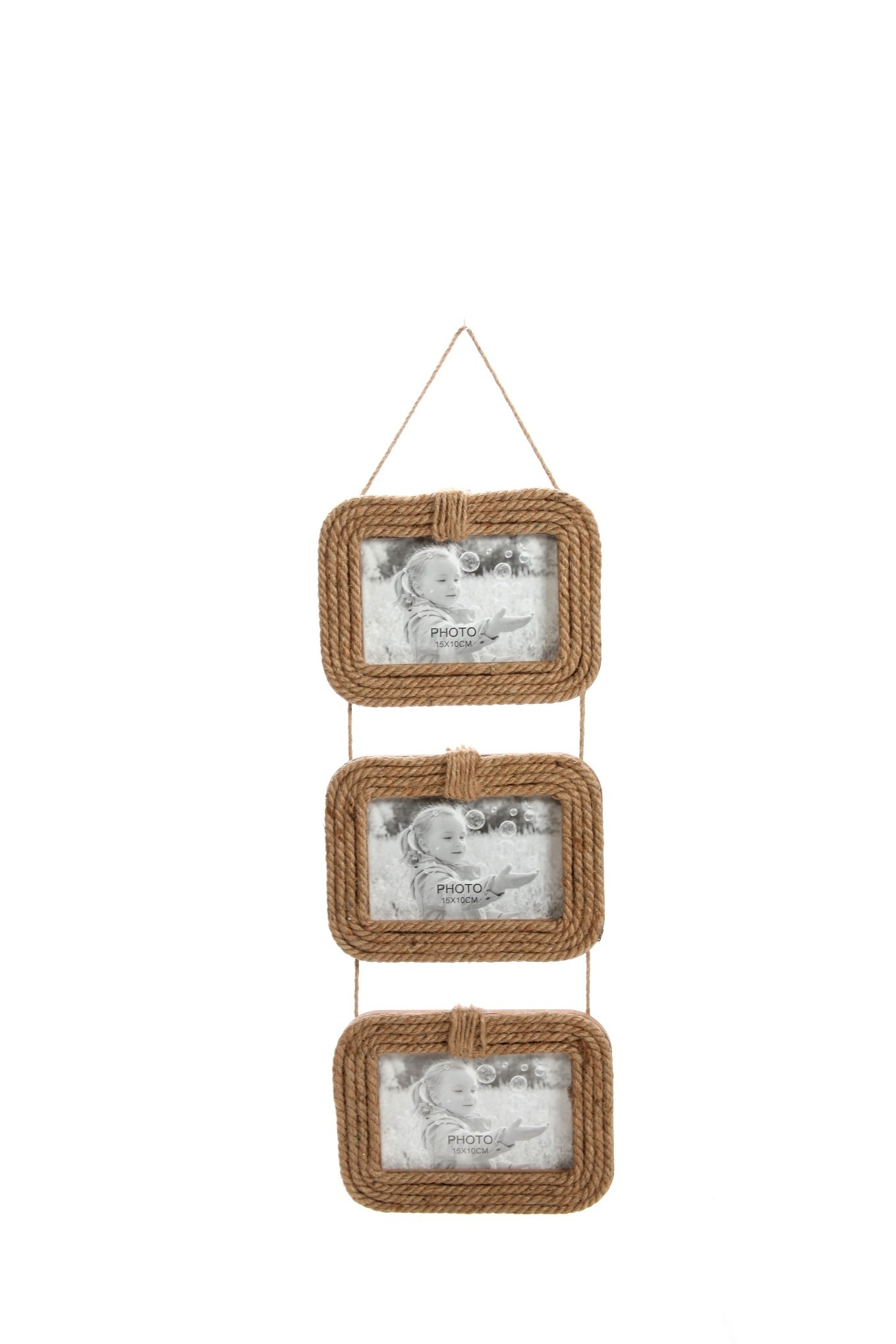 Hosley Jute Rope Three 4'' x 6'' Photo Frames - 20'' High. Ideal Gift for Wedding or Special Occasion and use for Party, Home/Office, Spa, Bathroom Setting. P2