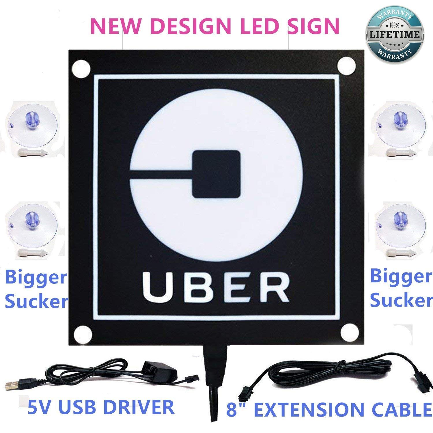 Uber sign light with new uber logo uber el car sticker glow light sign decal on window with usb powered uber lyft led light sign decal sticker on car