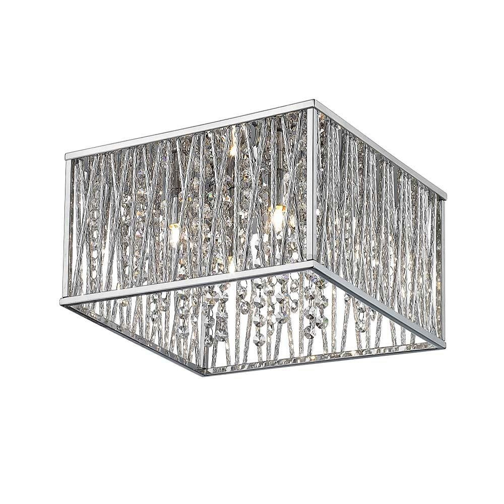 HD Saynsberry 4-Light Chrome Flush Mount by Home Decorators Collection