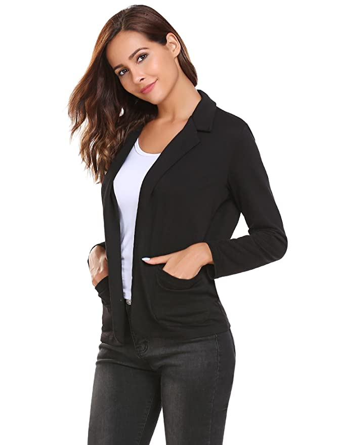 Dethler Women Casual Blazers and Jackets Long Sleeve Solid Fitted Open Outwear