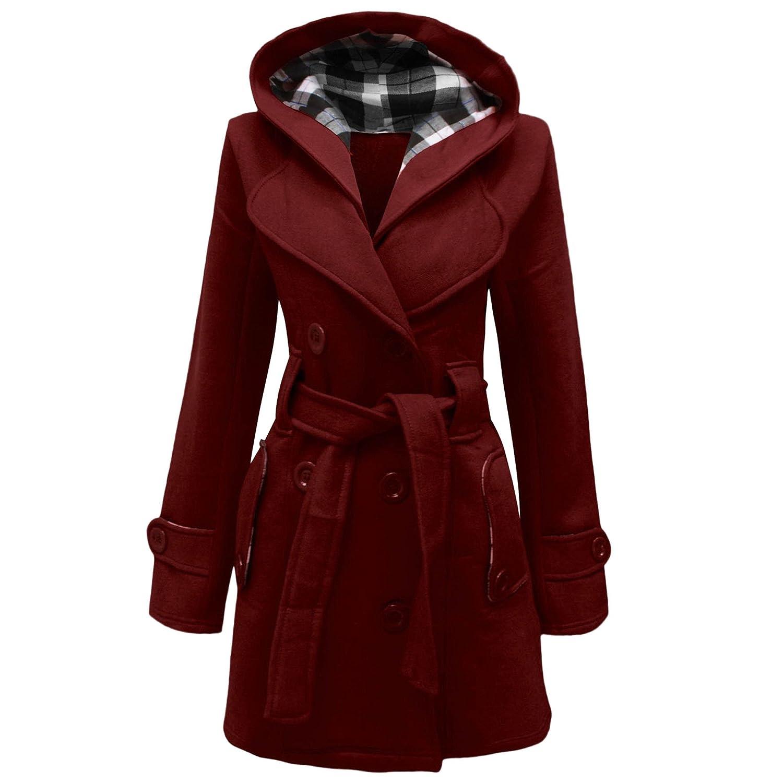 Cappotto da donna con cappuccio, chiusura con bottoni e cintura, taglie: dalla 40 alla 52
