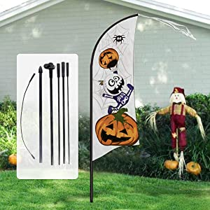 Pawliss Halloween Yard Decorations, 7 feet Large Feather Flag Swooper Flag with Pole Kit, Ghost Pumpkin Garden Flag, Halloween Trick or Treat Party Outdoor Decoration