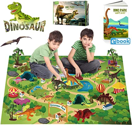EIAIA Dinosaur Toys w/ Activity Play Mat Trees Rocks to Create A Dino World, Educational Realistic Dinosaur Figures Playset Including T-Rex, Triceratops, Velociraptor, Best Gifts for Kids Boys & Girls