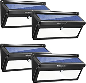 Neloodony Solar Lights Outdoor 100 LED Waterproof Solar Motion Sensor Light Outdoor Super Bright Security Wall Lights for Yard, Patio, Garden, Garage, Steps, Deck (4 Pack)