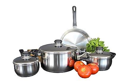 Bastilipo Berna Batería de Cocina, Acero Inoxidable, Gris, 24 cm, 7 Unidades