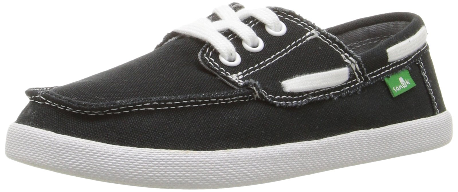 Sanuk Kids Boys' Lil Deck Hand Boat Shoe (Toddler/Little Kid/Big Kid), Black, 2 M US Little Kid