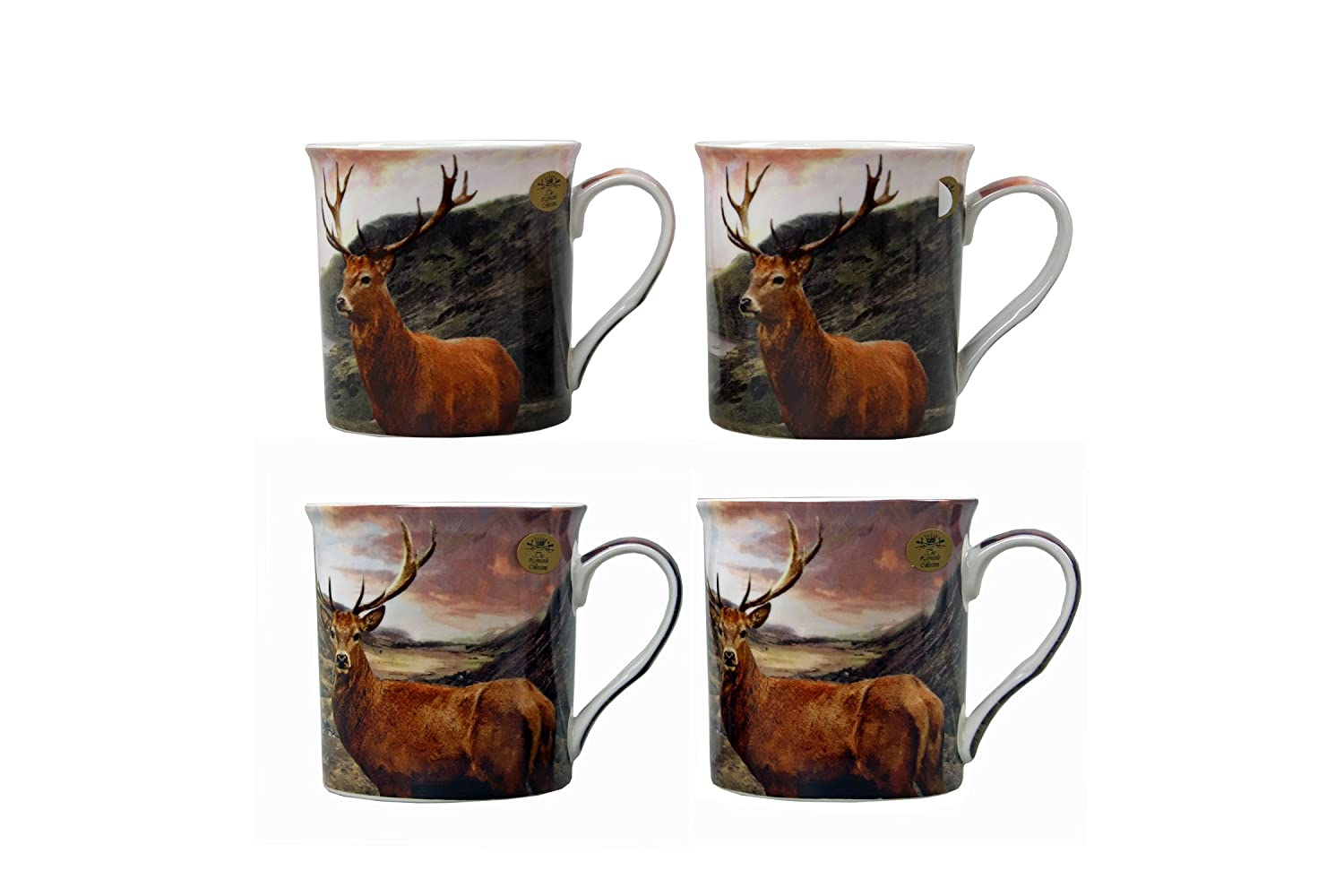 Gift Boxed Set of 4 China Mugs - Stags Lesser & Pavey