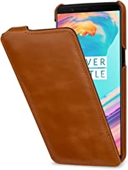 StilGut UltraSlim Case, Custodia Flip Case per OnePlus 5T in Vera Pelle, Cognac