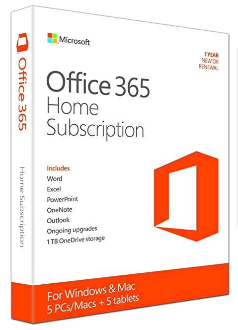 microsoft office 365 home subscription licence 1 year