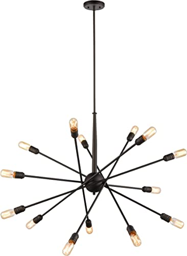 WILDSOUL 100314OB 14-Light Mid-Century Sputnik Sphere Chandelier, Modern and Contemporary Aesthetics Foyer Entryway Dining Room, LED Compatible 60W E26 Base, Downrod, 38 Arms, Oiled Rubbed Bronze