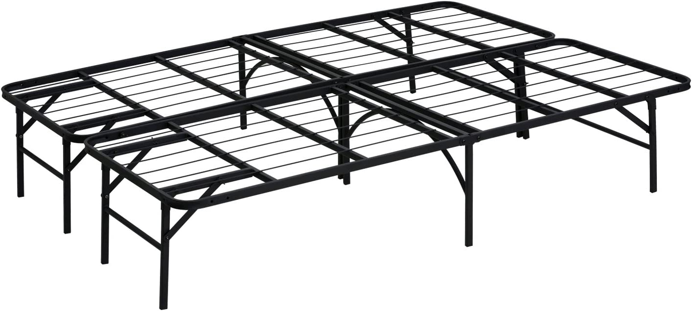 FURINNO Angeland Mattress Foundation Platform Metal Bed Frame, Full, Black