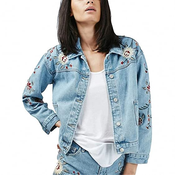 Women Denim Jacket Coat Retro Floral Embroidery Jeans Coat Light Blue Washed Slim Denim Coats