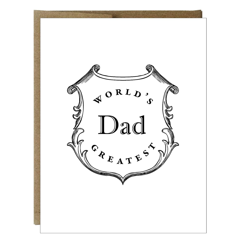 Worlds Greatest Dad Crest Letterpress Card