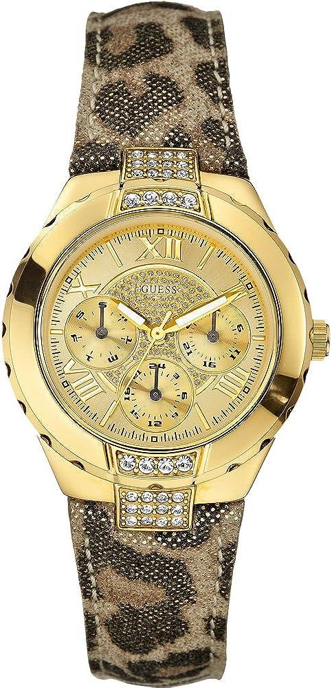 Guess w0023l1–Reloj de Pulsera de Mujer, Correa de Piel Color marrón