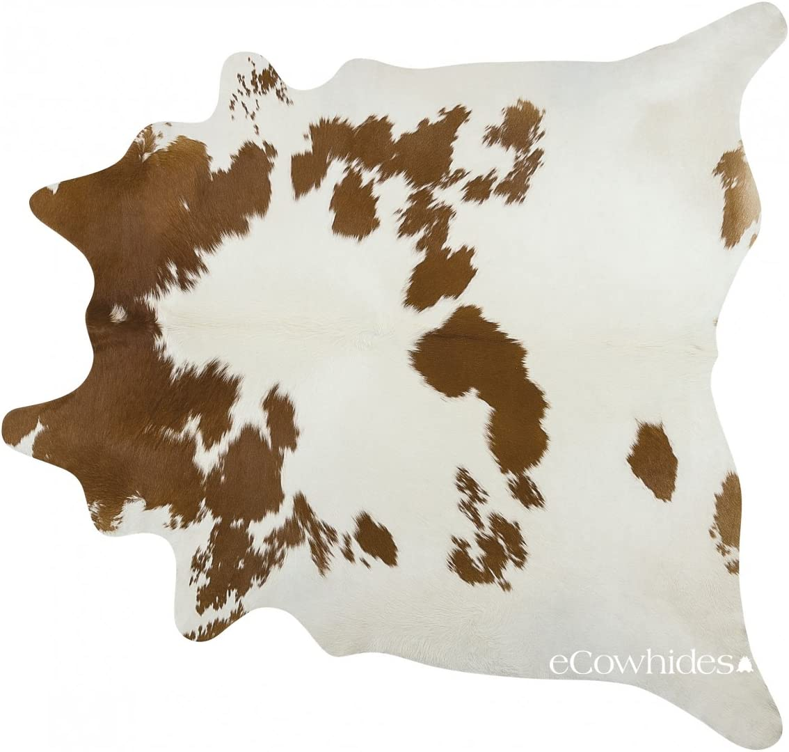 eCowhides Brown and White Brazilian Cowhide Area Rug, Cowskin Leather Hide for Home Living Room XXL 8 x 7 ft