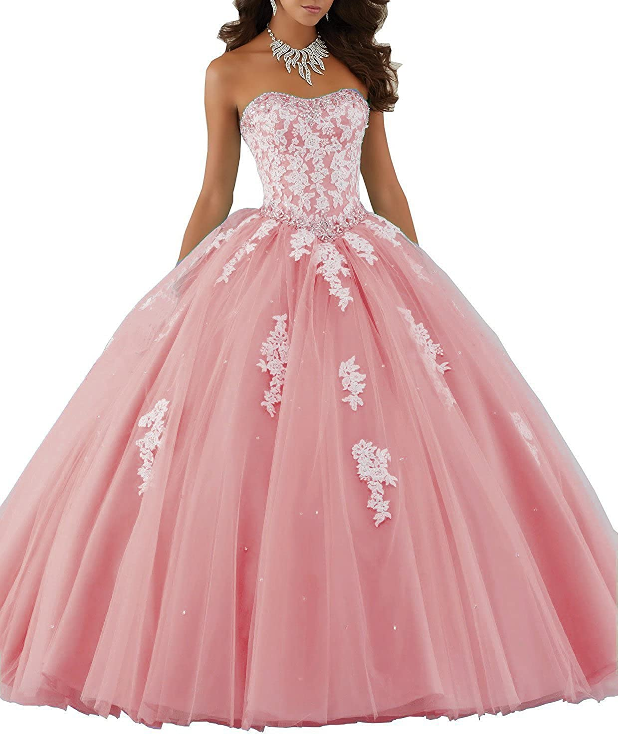 bluesh Ellenhouse Sweetheart Ball Gown Long Lace Applique Tulle Quinceanera Dress EL047