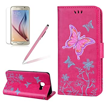 Funda tipo cartera para Samsung Galaxy A3 2016, girlyard Glitter [flores y mariposas]