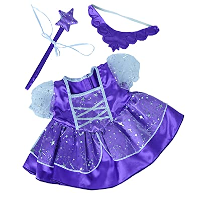 """Purple Fairy Princess Dress w/Wand Teddy Bear Clothes Fits Most 14""""-18"""" Build-a-bear and Make Your Own Stuffed Animals : Toys & Games"""