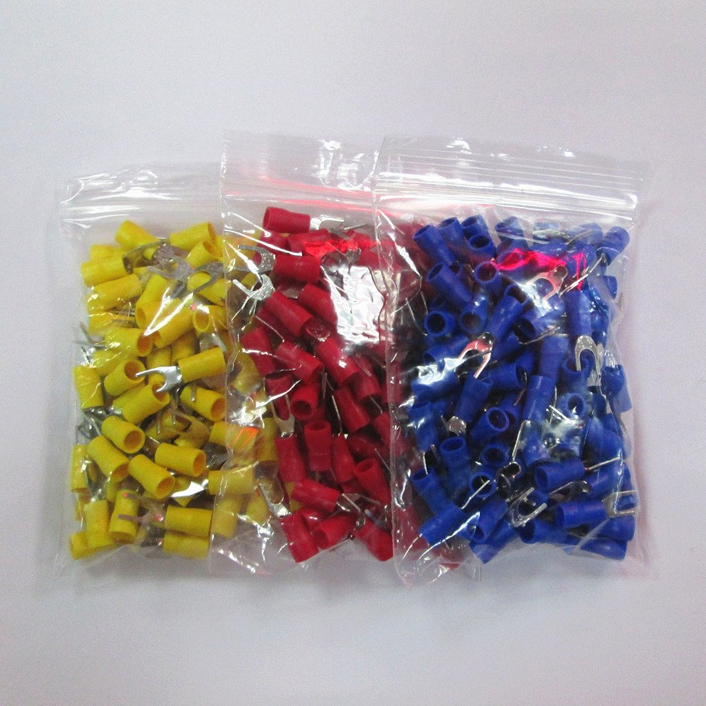 MagiDeal 150pcs Conjuntos Tornillo Prensado de Espada Horquilla Terminal Conector U Forma Sv2-4//SV2-3.2 rojo Azul amarillo SV2-4