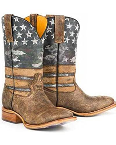 a852ae7133e Amazon.com | Tin Haul Men's American Flag Dogtag Cowboy Boot Square ...