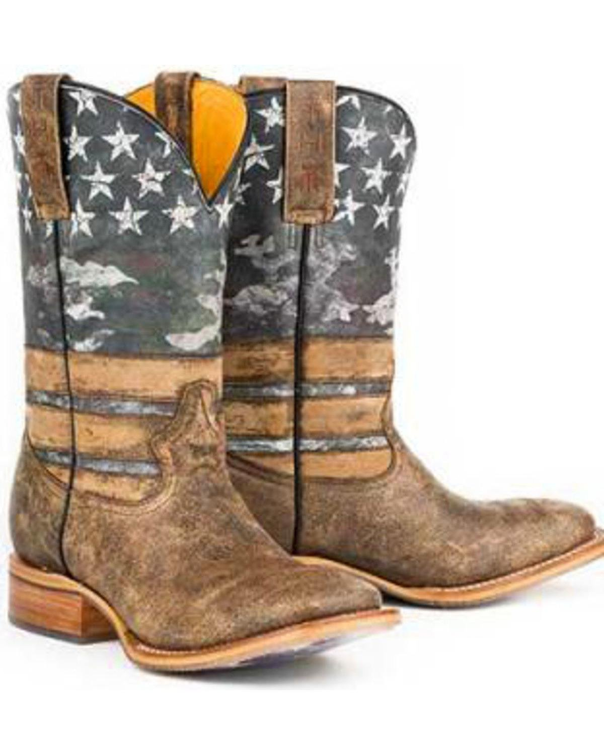 Tin Haul Men's American Flag Dogtag Cowboy Boot Square Toe Brown 7 D(M) US