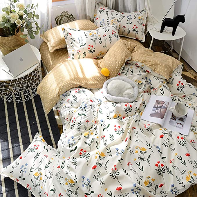 Amazon.com: Flowers Bedding White Floral Duvet Cover Set Yellow Blue Flowers Black Plants Floral Printed Botanical Comforter Cover Twin (66x90) 1 Duvet Cover 1 Pillowcase (Twin, White): Kitchen & Dining
