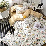 White Floral Bedding Flowers Duvet Cover Set Yellow Red Flowers Plants Floral Printed Botanical Floral Bedding Sets Twin 1 Du