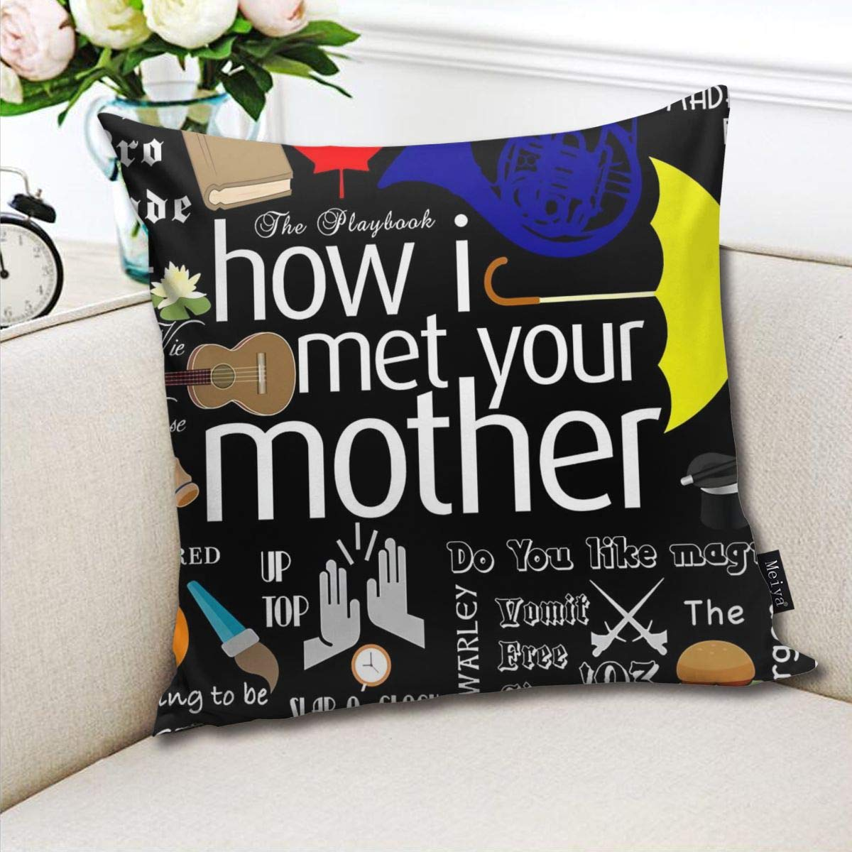 18 x 18 inch Winter Holiday Farmhouse Cotton Cushion Case Decoration for Sofa Couch BLUETOP How I Met Your Mother Pillow Cover