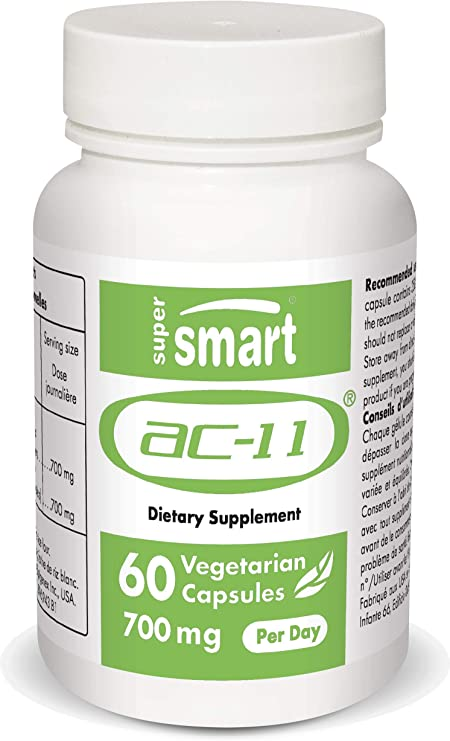 Supersmart - AC-11® 700 mg Per Day - Natural DNA Regenerator Extracted From Uncaria Tomentosa (Cat's Claw) - Help with Inflammation & the Immune System   Non-GMO & Gluten Free - 60 Vegetarian Capsules