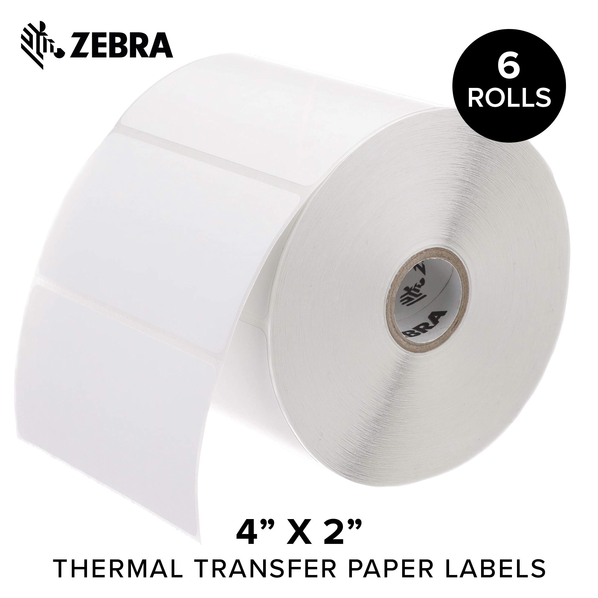 Zebra - 4 x 2 in Thermal Transfer Paper Labels, Z-Perform 2000T Permanent Adhesive Shipping Labels, Zebra Desktop Printer Compatible, 1 in Core - 6 Rolls by ZEBRA