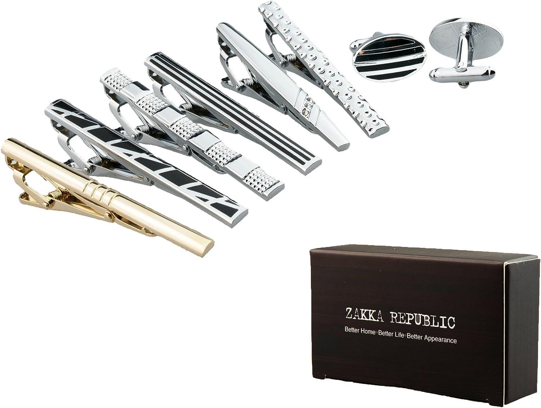 Mens Fashion Neckie Tie Clips Bar Set & 2pc Cufflinks, By Zakka Republic …