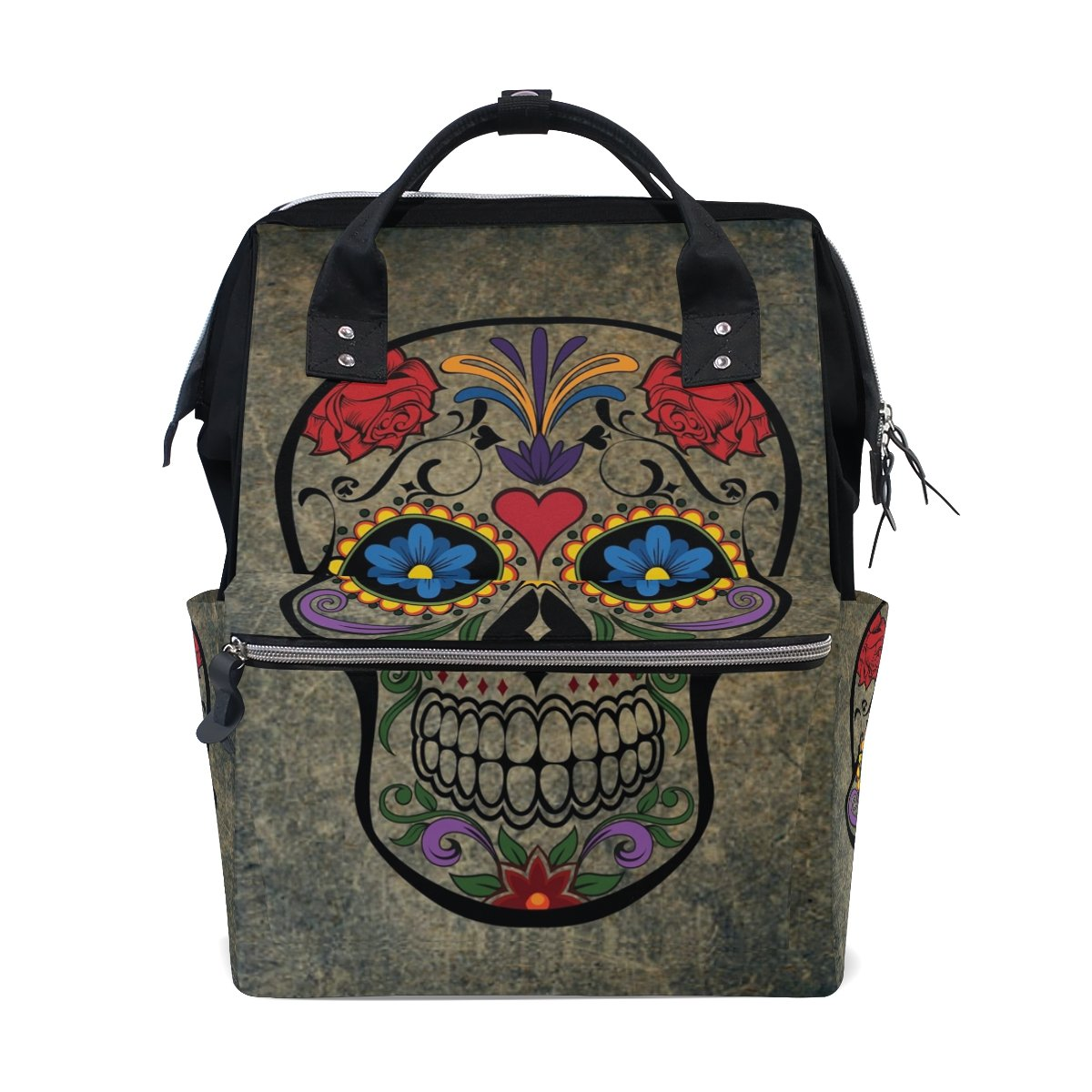 Diaper Bags Backpack Purse Mummy Backpack Fashion Mummy Maternity Nappy Bag Cool Cute Travel Backpack Laptop Backpack with Colorful Skull Head Daypack for Women Girls Kids