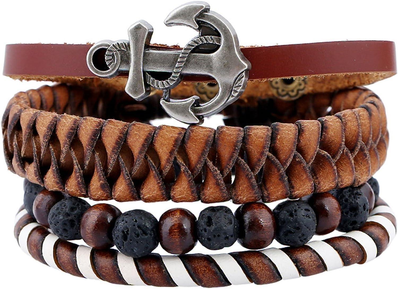 Injoy Jewelry Pulseras de Cuero de Varios filamentos de la Vendimia Pulsera de Cuero de Ancla Pulseras de Lava de Abalorios para Hombres, Mujeres, Juego de 4 Piezas: Amazon.es: Joyería