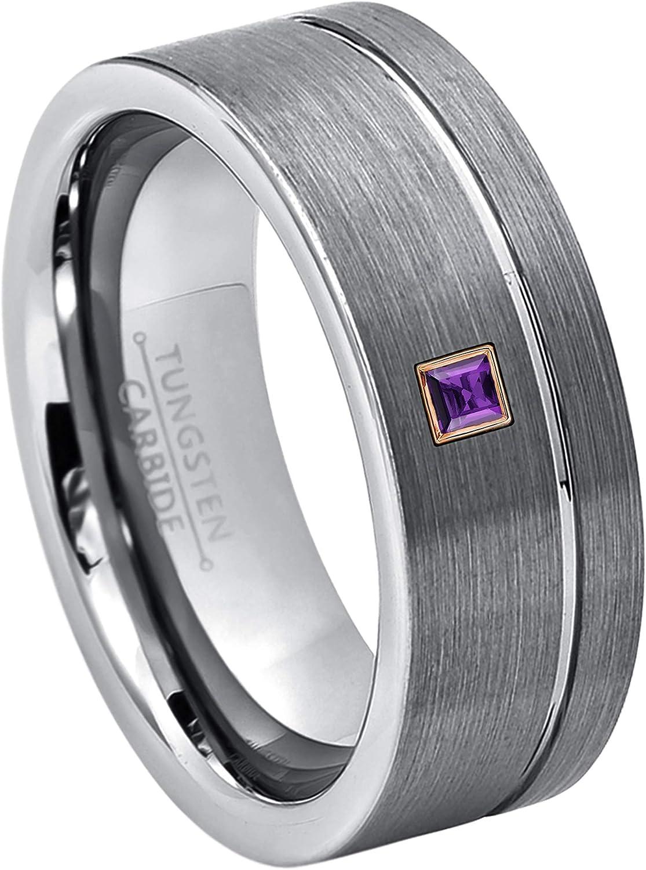 Tungsten Wedding Ring Princess Cut Canary Diamond Ring Mens Tungsten Ring Tungsten Wedding Band Birthstone Tungsten Ring Comfort Fit 8mm