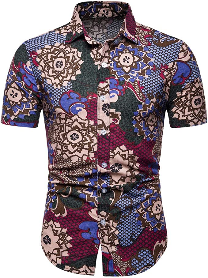 yibiyuan Mens Fashion Summer Polo Shirts Button Striped Short Sleeve T Shirt