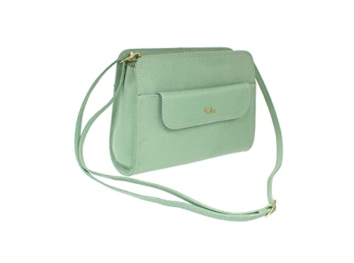 991b3f87ed Tula by Radley Saffiano grained leather shoulder cross body bag eucalyptus   Amazon.co.uk  Shoes   Bags