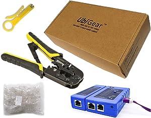 UbiGear Cable Tester +Crimp Crimper +100 RJ45 CAT5e Connector Plug Network Tool Kits (568ToolKits)