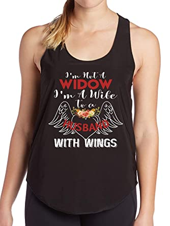 Amazon Im Not A Widow Wife To Husband With Wings Birthday Gift Funny Womens Tank