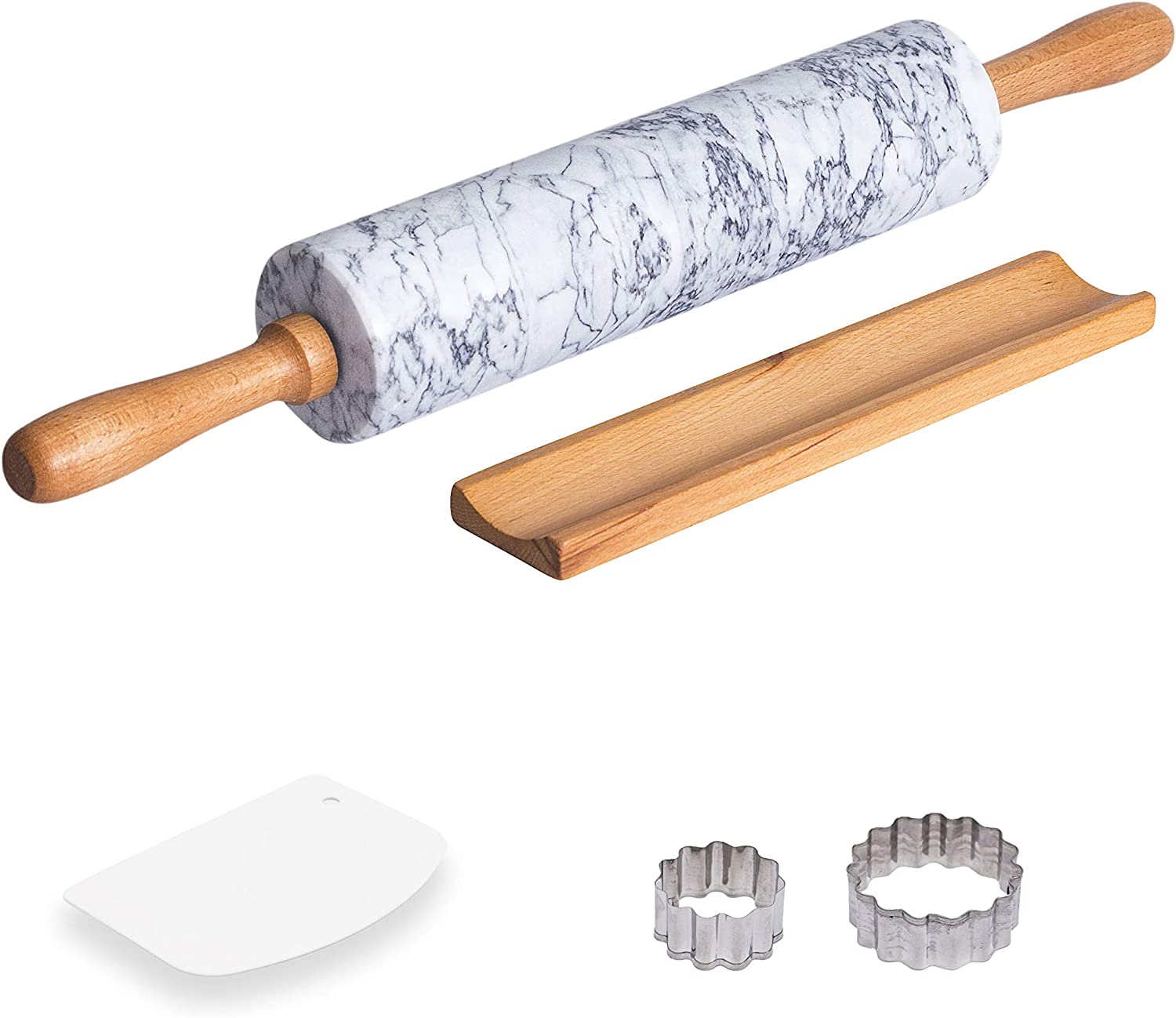 Green Marble Kitchen Rolling Pin With Wood Handles Roll Baking  And Stand 46Cm