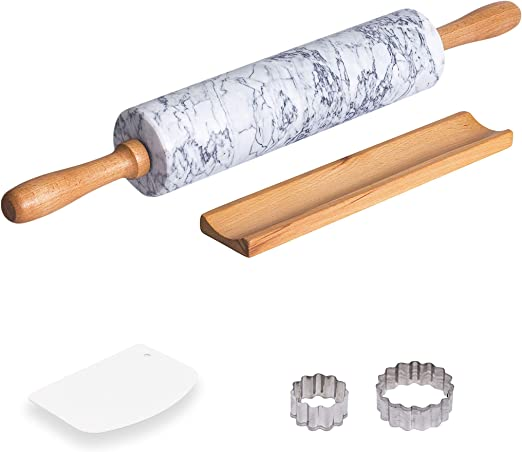 Rolling Pin Green Marble Pastry Chef Deluxe SHIP FREE Baker Set 2-Piece Board