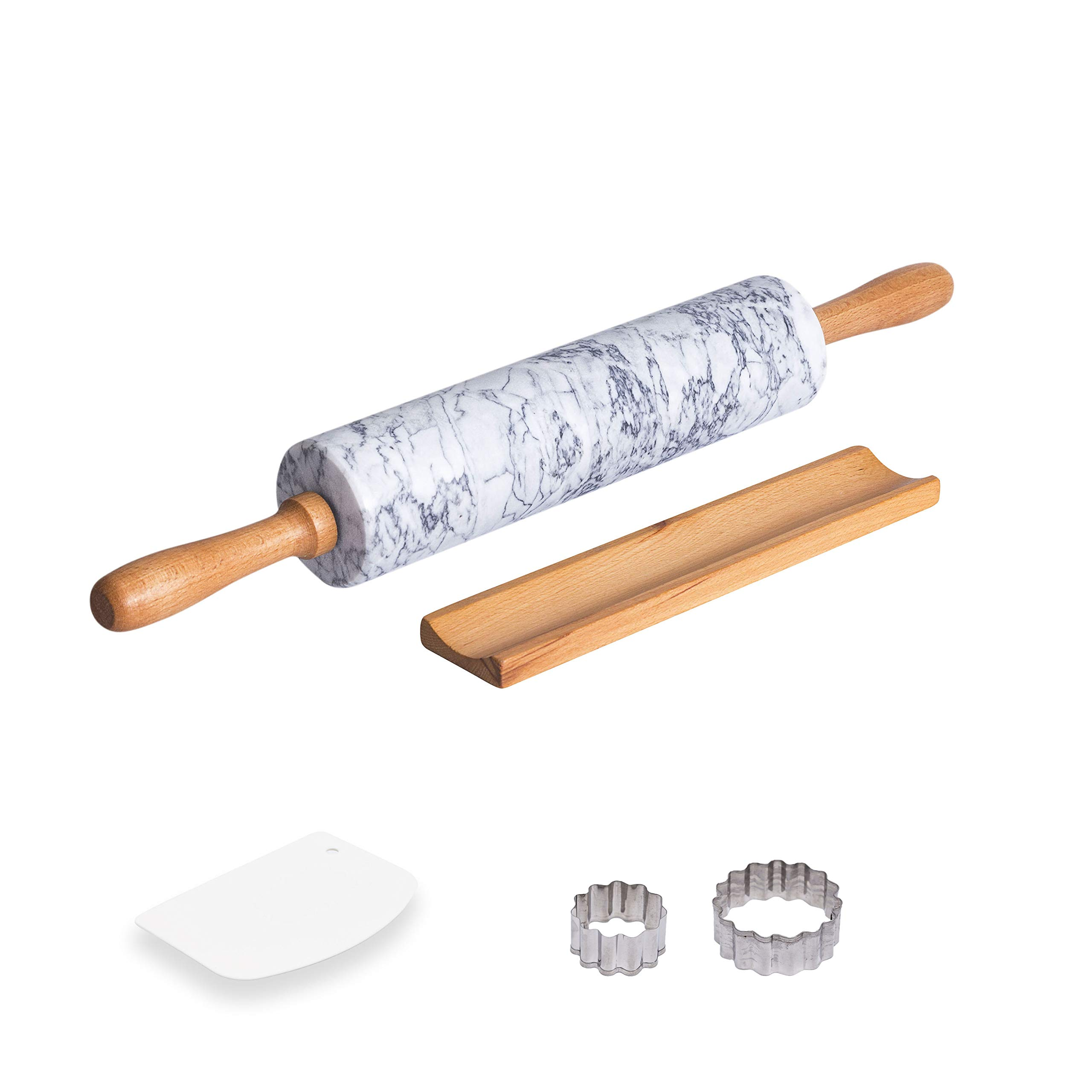 COZYMAT Marble Rolling Pin Non-stick, with Wood Stand for Fondant/Dough/Baking, Heavy and Solid Stone, White, 18 Inch, 10'' long barrel
