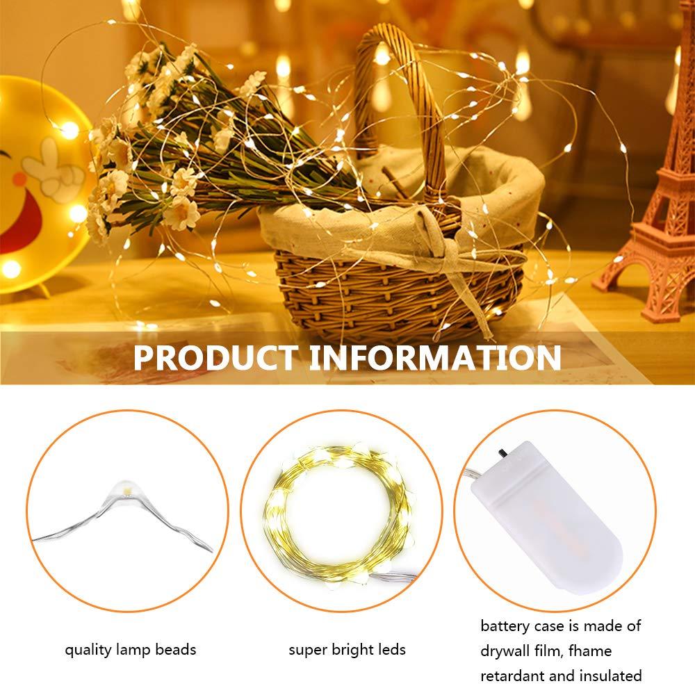 CR2032 en 2M//7Ft 20 LEDs Guirnalda Luces de Cadena Micro Blanco c/álido impermeable Luces Decorativas Flexiblepara Decoraci/ón Interior Fiesta de Navidad 10 Piezas Cadena de Luces con pilas Boda