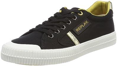 Damen Dayton Sneaker, Mehrfarbig (Black Gold), 39 EU Replay