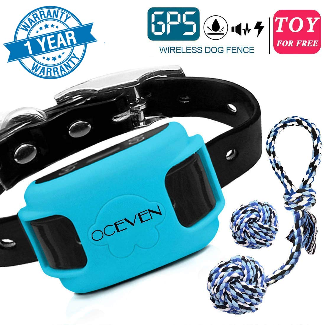 OCEVEN Wireless Dog Fence System with GPS, Outdoor Pet Containment System Rechargeable Waterproof Collar EF851S, for 15lbs-120lbs Dogs with 2pcs Toys for Free, Blue by OCEVEN