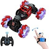 Powerextra Remote Control Car, 4WD 2.4GHz Rc Stunt Car, Watch Gesture Sensor Car, Double Sided Rotating Off Road Vehicle 360°