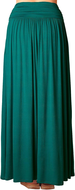 DJT Womens Pleated High Waist Stretchy Plain Jersey Flared Swing Pocket Long Maxi Skirt