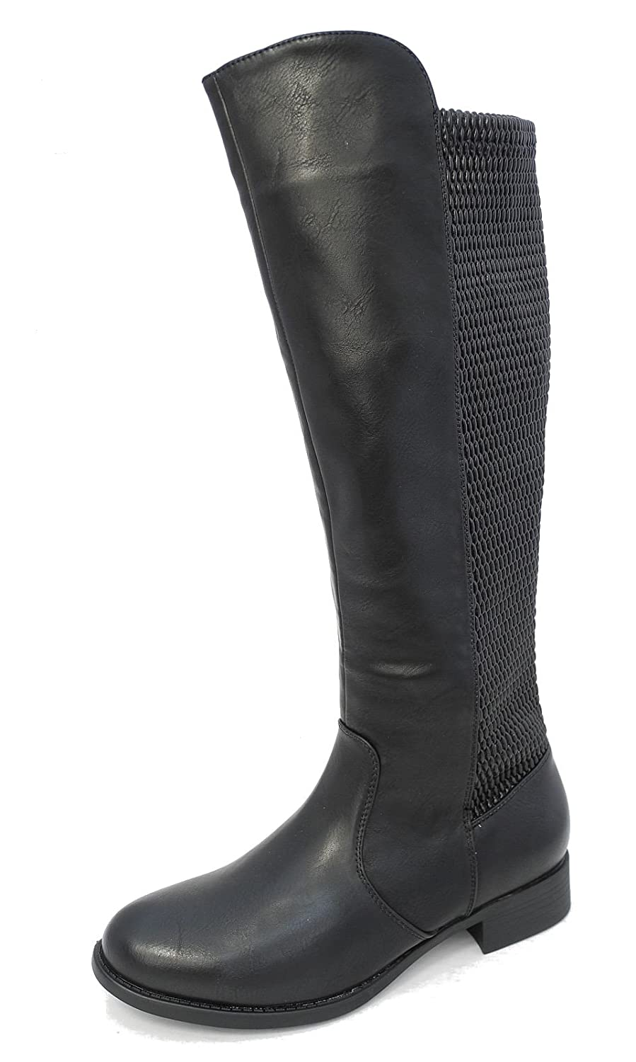 7d11813cd76 Cipriata Womens Ladies Leather Look Wide Stretch Elasticated Long Leg Boots  Size 3-8