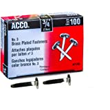 "ACCO Brass Fasteners, 3/4"", Plated, 100 Fasteners/Box (A7071703B)"